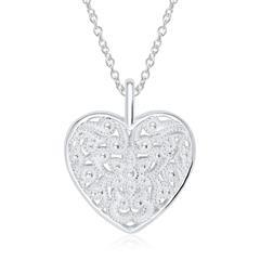 Florale Herz Medaillon Kette aus 925er Sterlingsilber