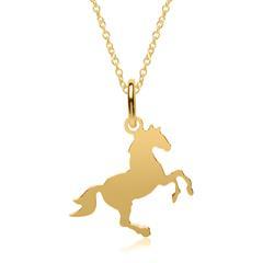 Kette mit Anhänger Pferd aus vergoldetem Sterlingsilber