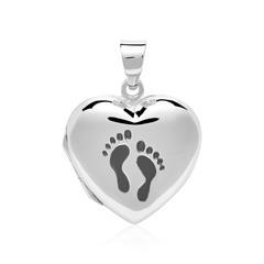 Herzmedaillon Footprints aus 925er Silber