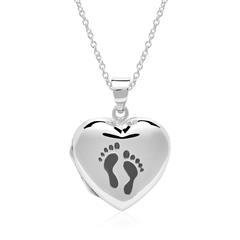 Kette und Herzmedaillon Footprints aus 925er Silber