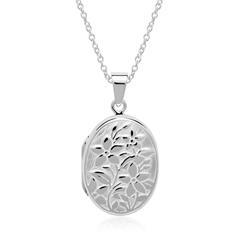 Kette Medaillon Blumen aus Sterlingsilber gravierbar