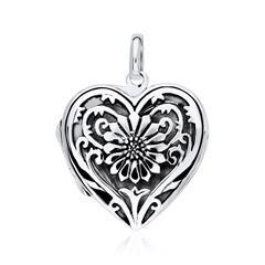 Herz Medaillon Enzian aus 925er Silber gravierbar