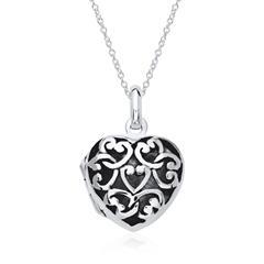 925er Silber Medaillon Kette Herzen gravierbar
