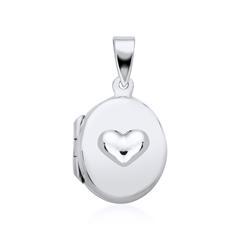 Ovales Medaillon Herz aus 925er Silber gravierbar