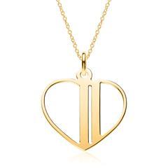 Vergoldete 925er Silber Kette Herz, gravierbar