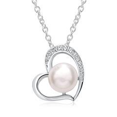 Herzkette aus Sterlingsilber mit Perle und Zirkonia