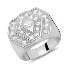 Moderner Ring 925 Silber mit vielen Zirkonia