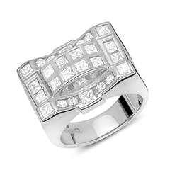 Exklusiver Silber Ring Zirkonia, rhodiniert