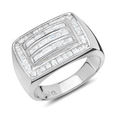 Moderner Ring aus Silber mit Zirkonia rhodiniert