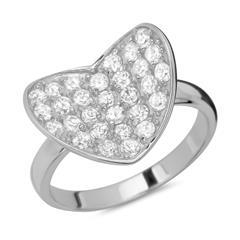 925 Silber Ring in Herzform mit Zirkonia