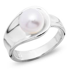 Moderner 925 Silberring mit weißer Perle