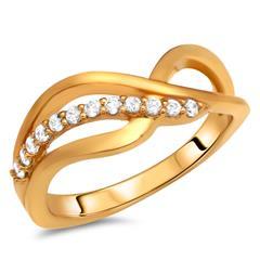Moderner Silberring vergoldet Zirkonia