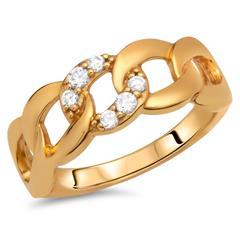 Verschlungener Silberring vergoldet Zirkonia