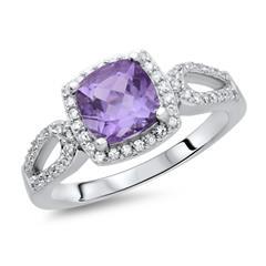 Moderner Ring 925 Silber Zirkonia Amethyst