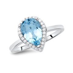 Moderner Ring 925er Silber tropfenförmig Topas
