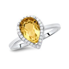 Moderner Ring 925er Silber tropfenförmig Citrin