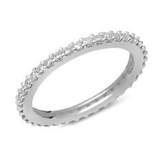 925er Silberring Eternity mit weißem Steinbesatz