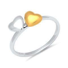 925 Sterling Silber Fingerring mit zwei Herzen