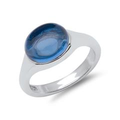 925 Silber Fingerring mit blauem Steinbesatz