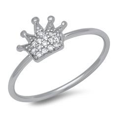 925 Silberring Krone Zirkonia