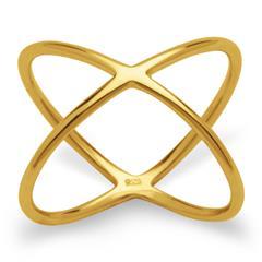 Gelbvergoldeter X-Ring 925er Silber