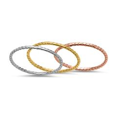 Dreiteiliges Ring-Set 925er Silber tricolor SR0330