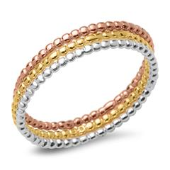 Ring-Set 925er Bubble-Design Silber rosé gold
