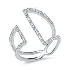 Modischer Ring 925er Silber rhodiniert Zirkonia