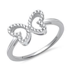 Schmetterling Ring 925er Silber Zirkonia