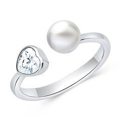 925er silber Ring offen mit Perle und Zirkonia