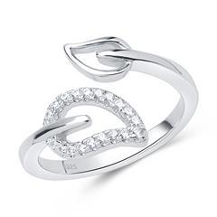 Stylisher 925er silber Ring im Blattdesign offen