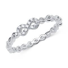 925er silber Infinity Ring mit Zirkonia
