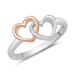 Damenring aus 925er Silber mit Herzen Bicolor