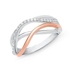 Ring aus 925er Silber Bicolor mit Zirkonia