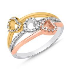 Sterlingsilber Ring Herz-Design Zirkonia Tricolor