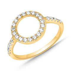 Vergoldeter Sterlingsilber Ring Kreis mit Zirkonia