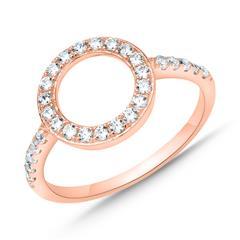 Ring im Kreisdesign 925er Silber Roségold Zirkonia
