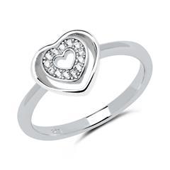 Ring Herzen 925er Silber Zirkonia