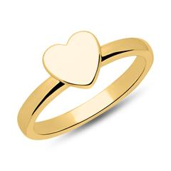 Sterling Gold Plated Silver Ring Heart Gravure Option
