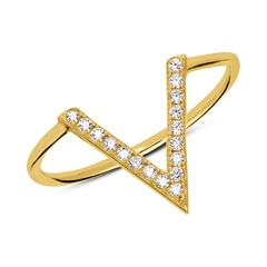 Vergoldeter 925er Silberring im V-Design mit Zirkonia