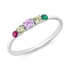 Ring für Damen aus 925er Silber mit Zirkonia, bunt
