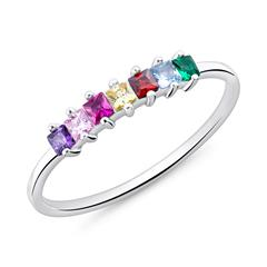 925 Silver Ring For Ladies With Colorful Zirconia