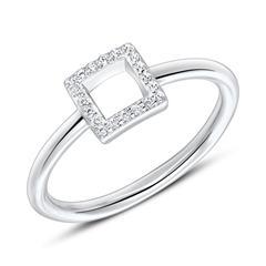 Ring Quadrat für Damen aus 925er Silber mit Zirkonia