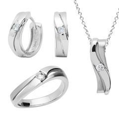 925 Sterling Silber Set Ohrringe Kette Ring
