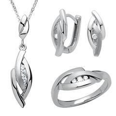 925 Silber Schmuckset Ring Kette Ohrringe