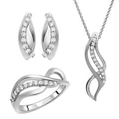 925 Silberschmuckset Ring Kette Ohrstecker