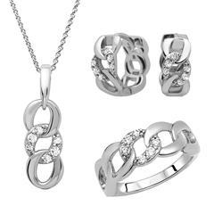 925 Silberschmuckset Creolen Ring Kette