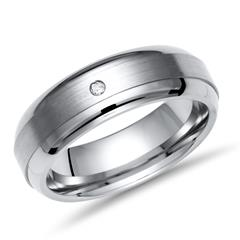 Exklusiver Ring Titan 6mm matt mit Diamant - TR0006