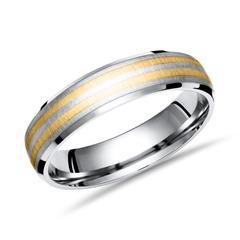 Exklusiver Ring Titan mit Einlage Gold 6mm
