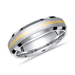 Exklusiver Ring Titan mit Einlage Gold 6mm breit